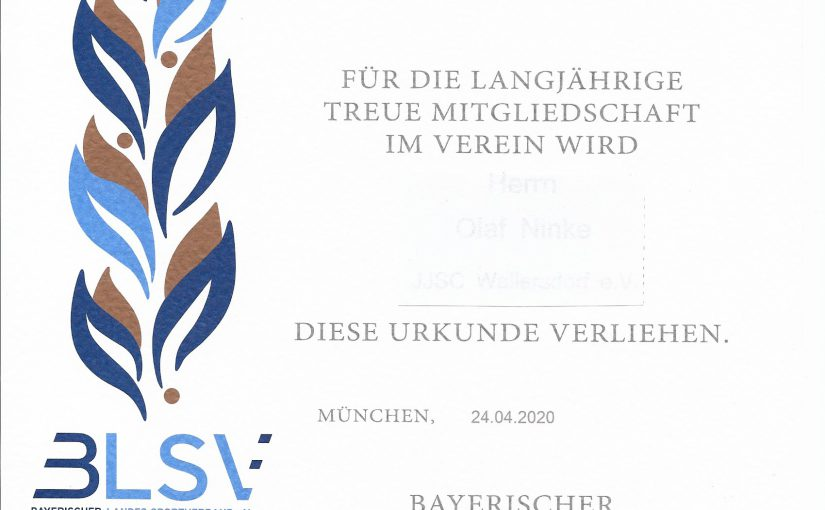 Ehrungen bei der Online Jahreshauptversammlung für das Jahr2020 und 2021